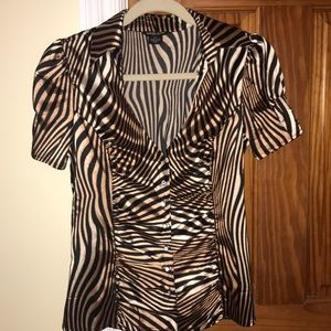 Animal print vneck blouse with studded buttons